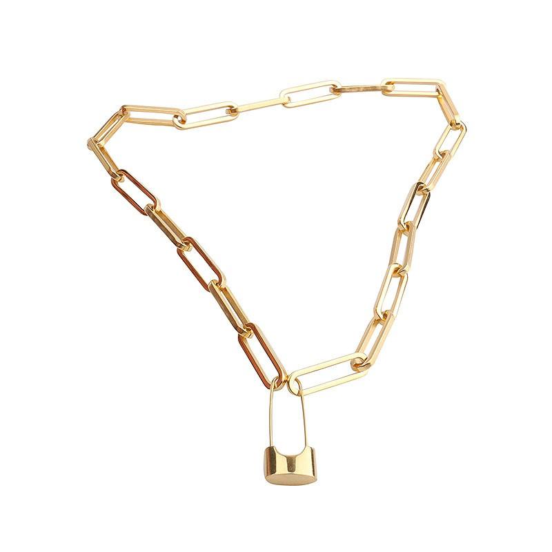 鈦鋼項鍊 時尚設計感別針項鍊【365ME】鎖骨鏈/頸鍊/鈦鋼項鍊 鍍18K金