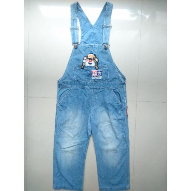 二手日本童裝絕版jam超可愛貼布吊帶褲130cm