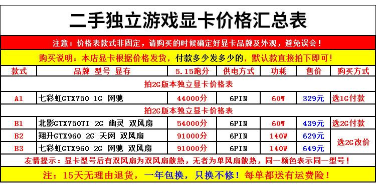 蝦皮推薦~包郵二手獨立吃雞遊戲顯卡華碩GTX750TI2G 950 9604G 1060 3G