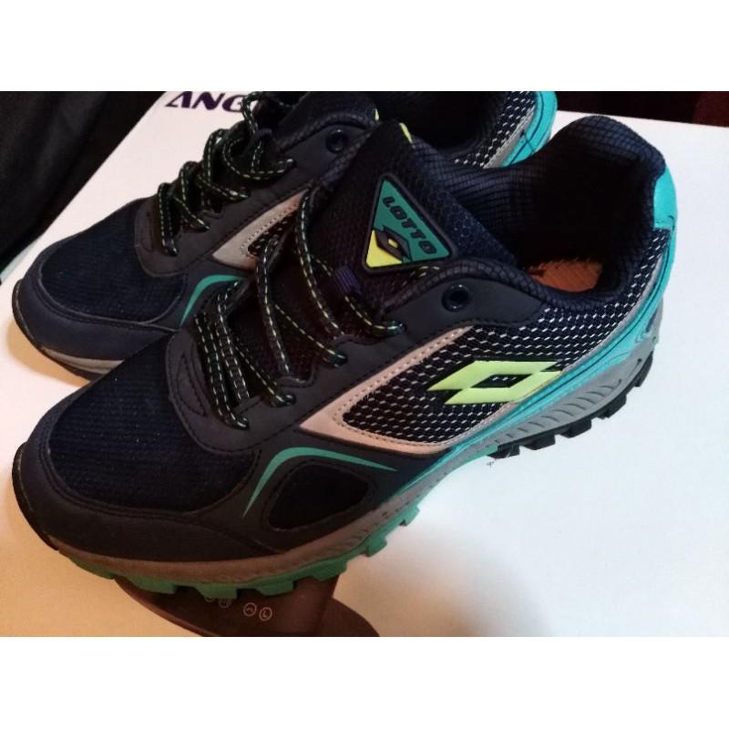 二手出清 LOTTO 女款 專業防潑水 郊山 越野跑鞋 慢跑鞋 運動鞋 CROSS RUN 藍灰配色 25號