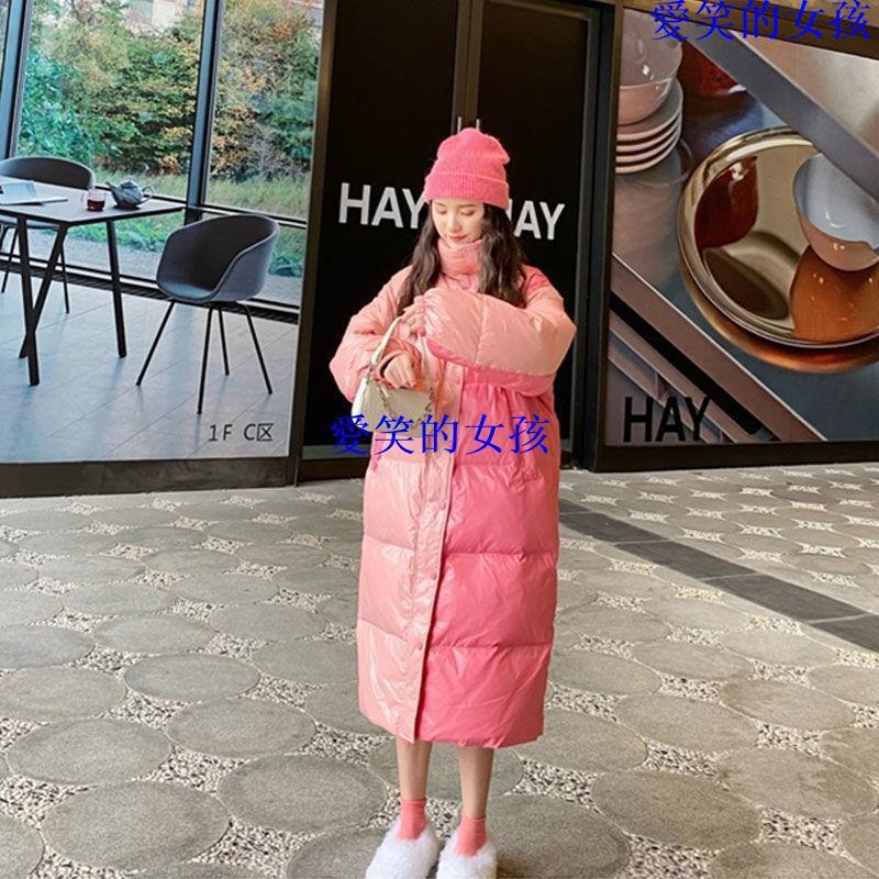 愛笑的女孩 女裝棉服 外套 面包服撞粉色長款韓版寬松棉服女拼接設計2020冬外套