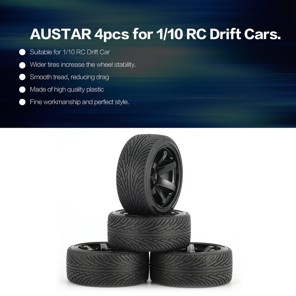 Austar 4pcs 硬塑料 64mm 輪輞輪胎輪胎輪, 用於 1 / 10 Rc 漂移車