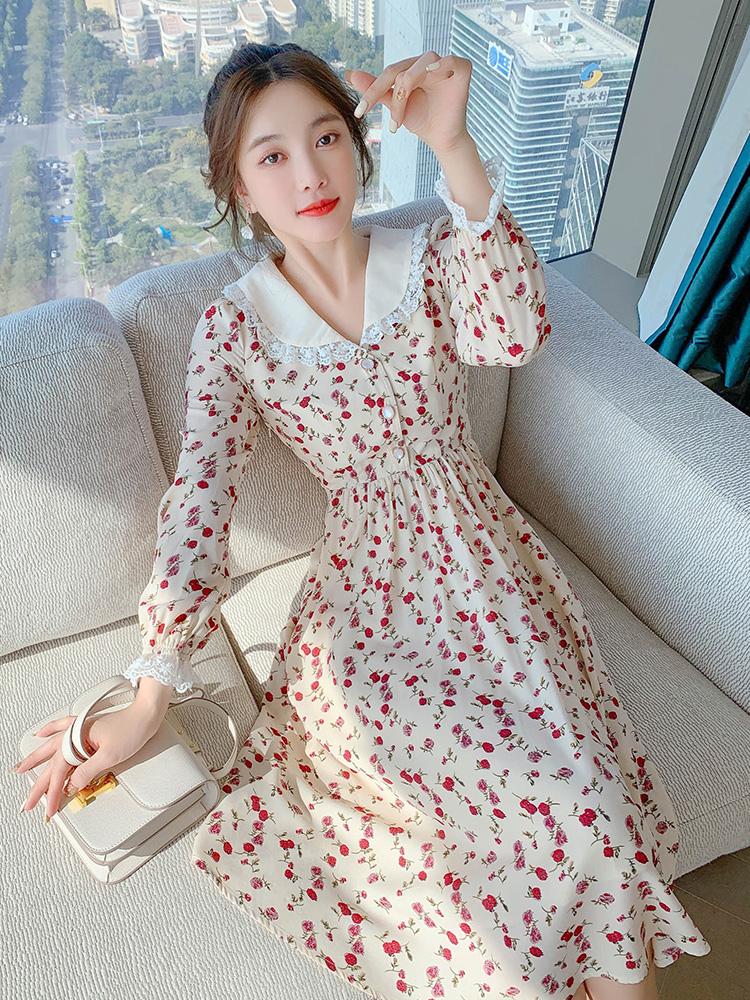 法式復古輕熟風雪紡連衣裙2021春季新款收腰顯瘦氣質女神範碎花裙