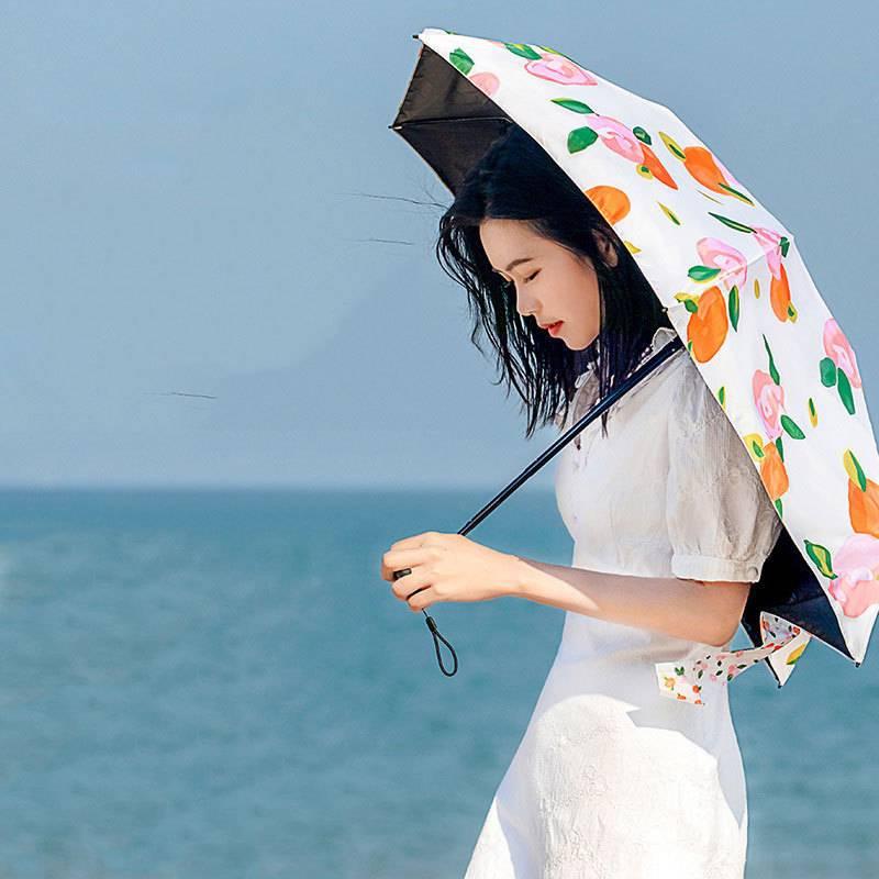 2021款日本BANANA KIU女防曬太陽傘六折迷你小黑傘攜遮陽防紫外線晴雨傘