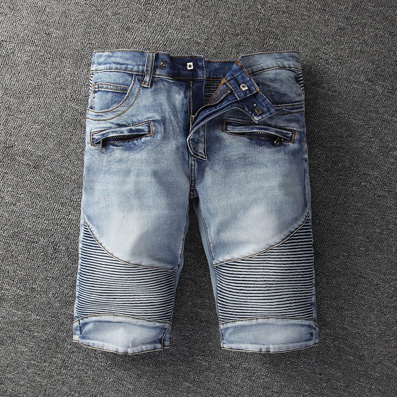 BALMAIN Short Jeans 丹寧牛仔短褲 巴爾曼破洞牛仔短褲 男士破刷牛仔褲 丹寧牛仔短褲 休閒短褲