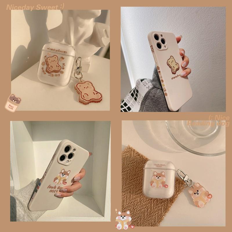 【台灣出貨】ins韓風小熊 柴犬 iPhone13側邊手機殼 Airpods Pro 1/2/3代保護套 透明軟殼送吊飾
