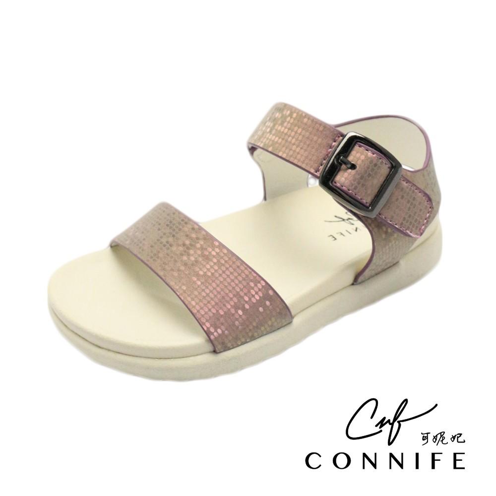 【CONNIFE 可妮妃】魔術方塊奶油底Q童涼鞋-紫色