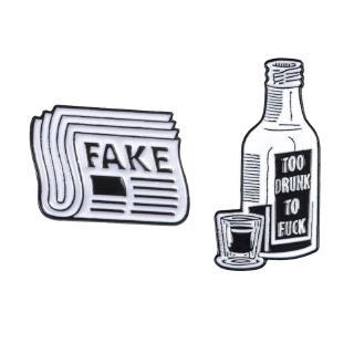 報紙酒瓶搪瓷別針假新聞TOOK DRUNK別針包衣服翻領別針