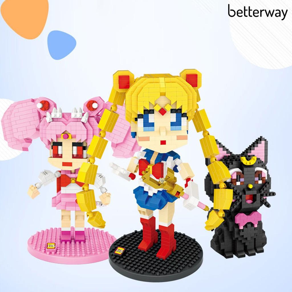 Betterway 1 套組裝玩具蠟筆小新系列顏色識別精美的動漫人物積木送禮