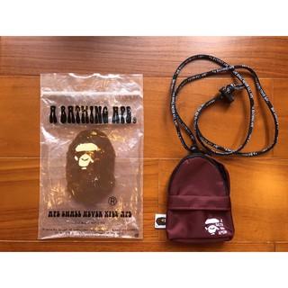 老品 Bape Ape NIGO 電繡 猿人臉 Logo 酒紅色 小包 鑰匙包 零錢包 小物 日本製 彰化縣
