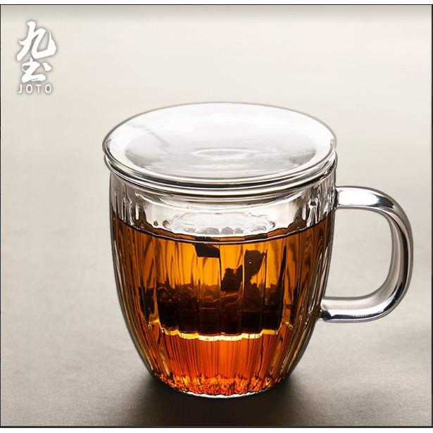 【九土JOTO】手工吹製帶過濾玻璃杯加厚手工透明玻璃杯花茶杯帶把過濾茶水分離杯泡茶杯泡茶杯子