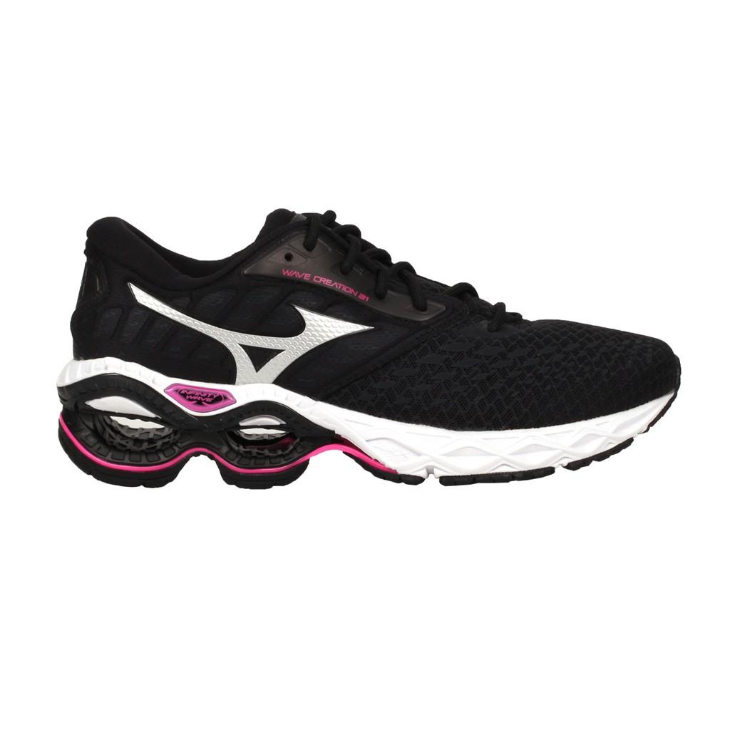 MIZUNO WAVE CREATION 21 女慢跑鞋( 路跑 運動 美津濃 黑銀桃紅 J1GD200116
