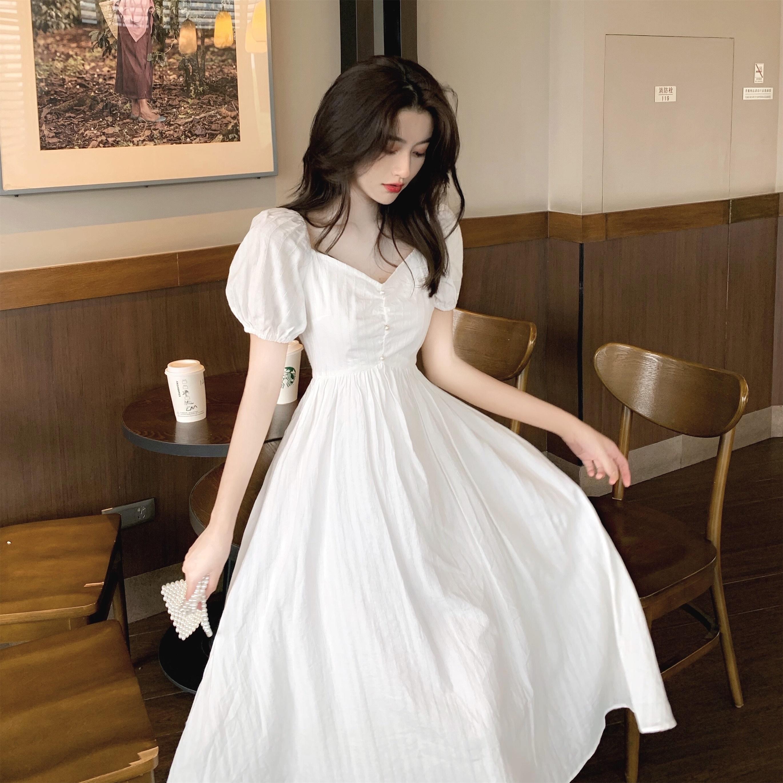 泡泡袖雞心領收腰氣質長款洋裝