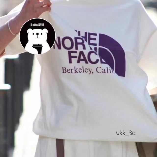 【全場免運】THE NORTH FACE 21SS TNF紫標拼接大logo印花短袖情侶款T恤