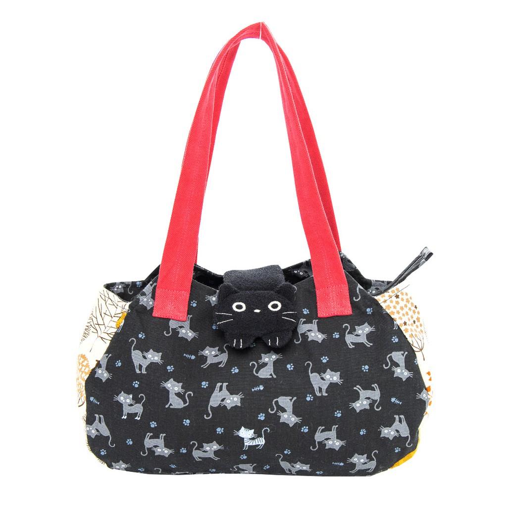 【Kiro貓】小黑貓 外出 手提/肩背包/拼布包【210709】