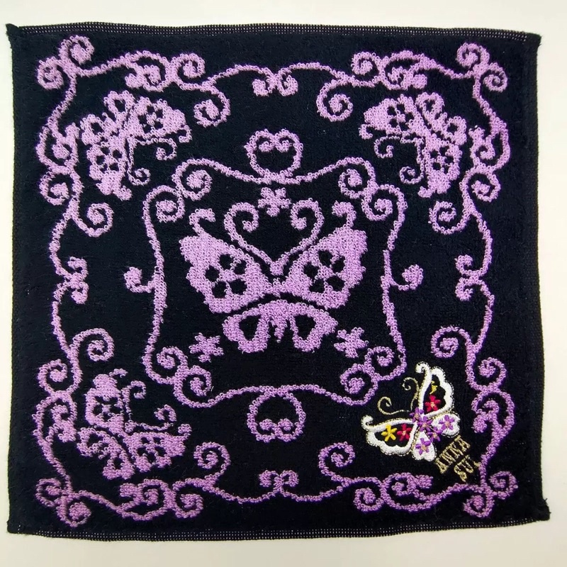 日本原單尾貨ANNA SUI毛巾方巾手帕100%棉25*25cm手感柔軟獨特的玫瑰花卉設計相當吸睛女生配件精品台灣現貨