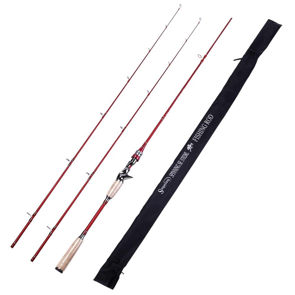 Sougayilang 外貿熱銷 紅色 2.1m槍柄路亞竿 M調魚竿 兩節附帶兩節竿稍可自由替換金屬陶瓷導環 海釣 溪釣