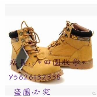 CAT馬丁靴男英倫高幫大頭鞋CAT真皮大黃鞋情侶短靴護外工裝鞋女靴*田園牧歌*