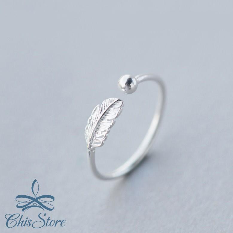 【葉片圓珠戒指】925純銀飾品 Chis Store 樹葉 葉子 珠珠 開口可調整 戒子 指環 純銀戒指 抗過敏