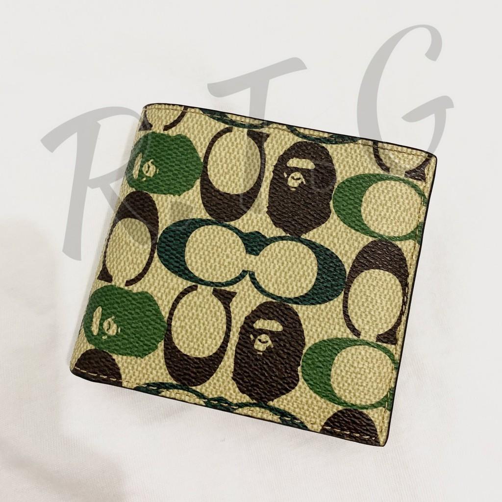 【R.T.G】BAPE X COA CH SHORT CLIP 短夾 綠迷彩 皮夾 重磅聯名 日本公司貨 現貨