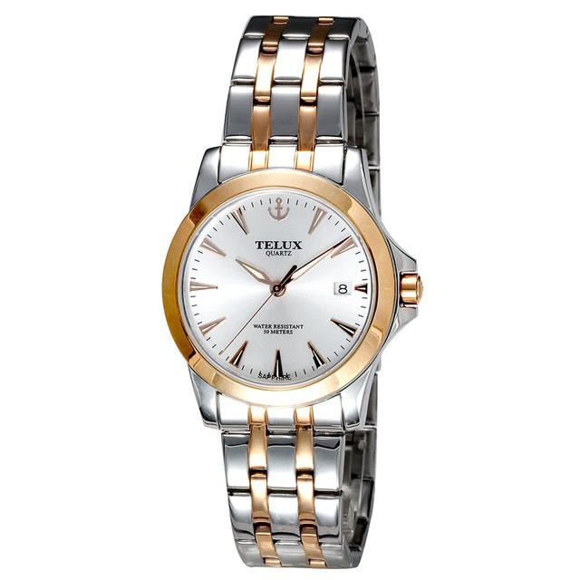[缺貨中]台灣品牌手錶腕錶【TELUX鐵力士】皇家爵士系列男腕錶手錶38MM台灣製造石英錶7925MRG-W15中金白面
