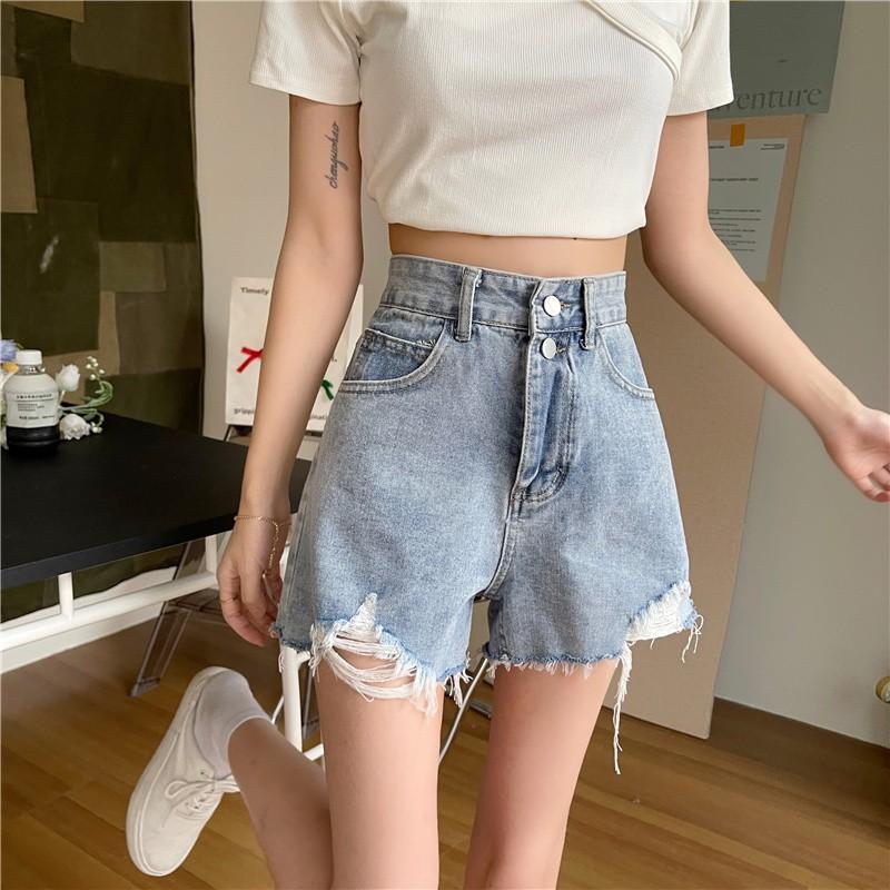 高腰顯瘦牛仔短褲女 古著丹寧短褲 寬鬆破洞超短褲 寬鬆A字闊腿熱褲子