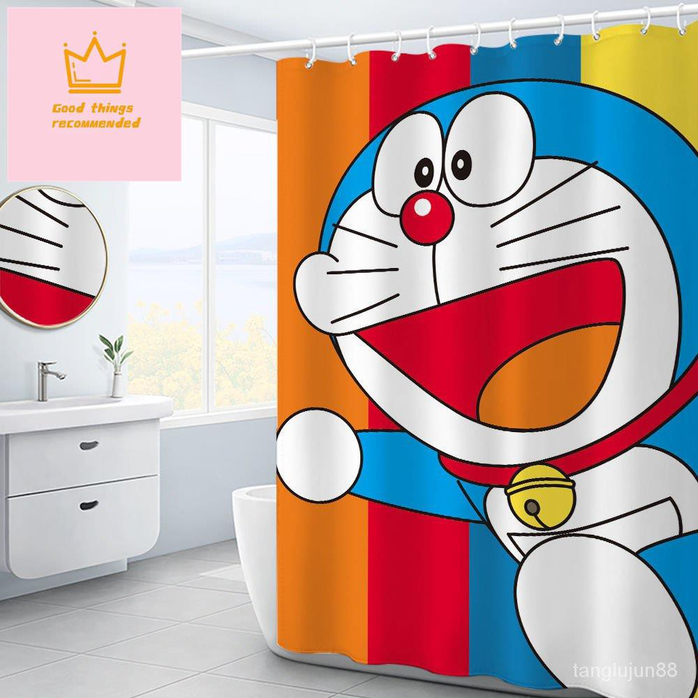 卡通哆啦A夢浴簾套裝衛生間加厚隔斷簾防霉衛生間浴室門簾防水簾浴室簾子