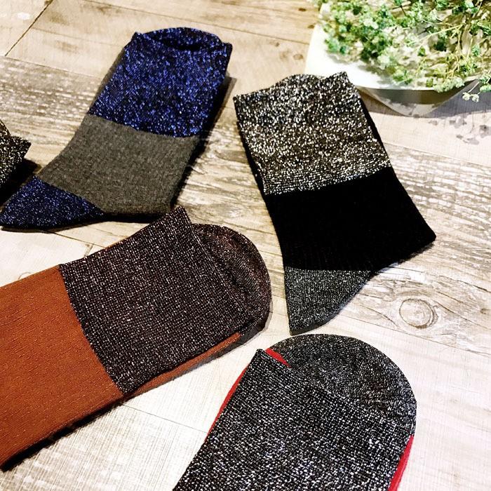 中筒襪日系金蔥短襪 拼色復古堆堆襪