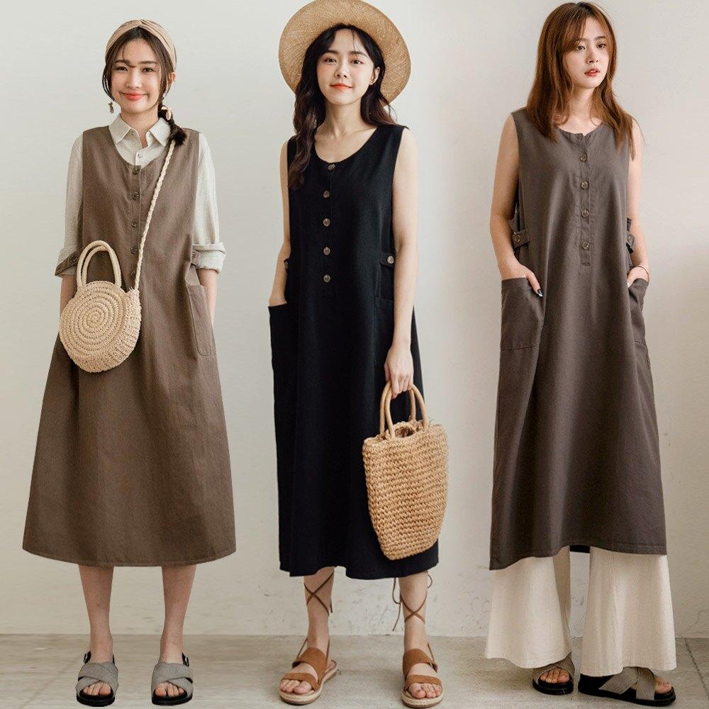 MIUSTAR 可調式側釦帶斜紋布背心洋裝(共3色)洋裝 0316 預購【NJ0557】