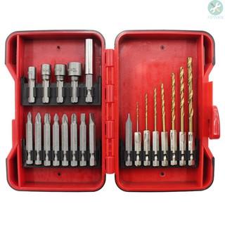 套筒批頭麻花鑽21件套六角柄麻花鑽電動螺絲批頭套筒塑盒套裝組合工具