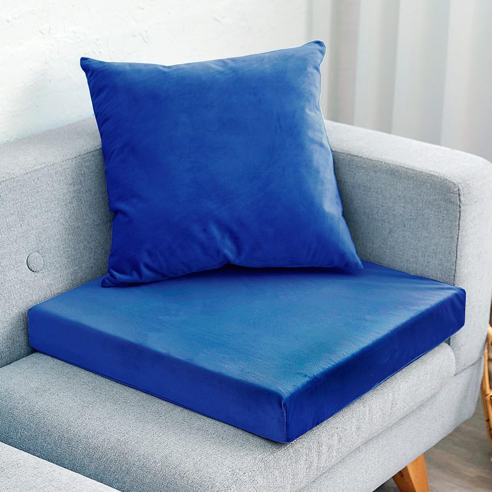 【凱蕾絲帝】台灣製造-高支撐記憶聚合加厚絨布坐墊/沙發墊/實木椅墊55x55cm-深藍