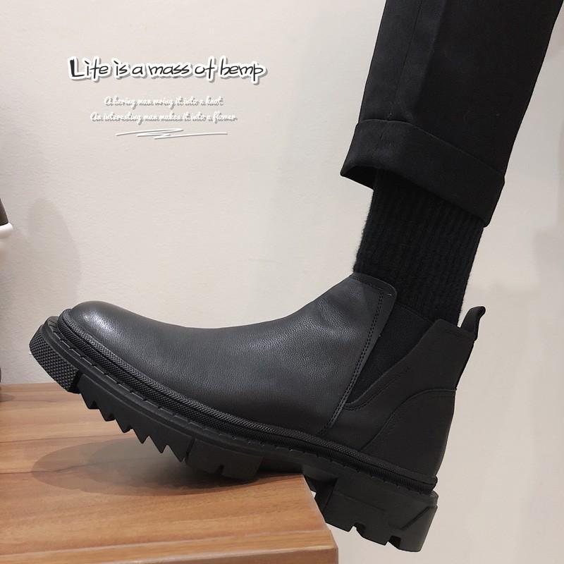 時尚 潮流百搭ins時裝靴秋季馬丁靴男高幫皮鞋英倫風中幫男靴韓版潮流切爾西靴休閒特價爆款