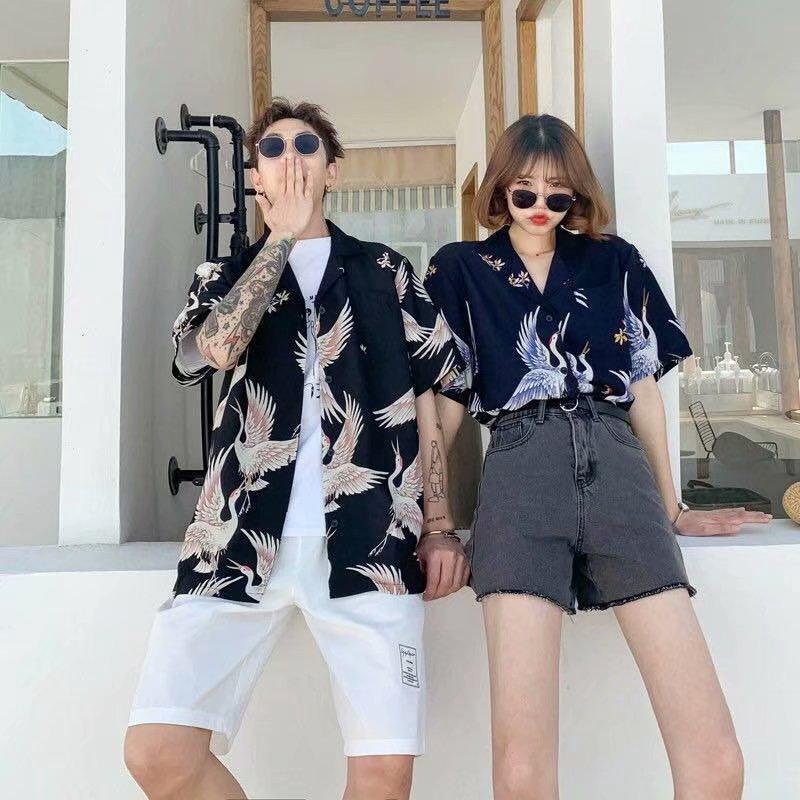 【HOT 本舖】S-3XL 短袖襯衫 潮款印花 帥氣襯衣 花襯衫 情侶裝 夏威夷襯衫 百搭港風 沙灘襯衫 休閒寬鬆 班服