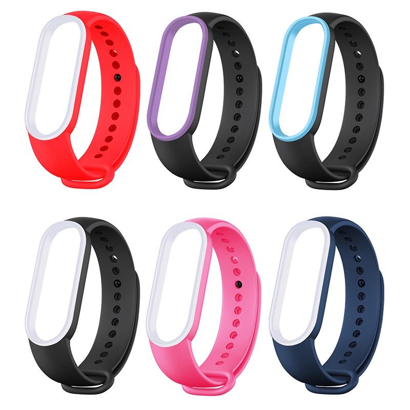 小米手環5 小米手環6 錶帶 小米手環 5 6 腕帶 小米5 小米6 充電線 保護貼 保護膜 替換 撞色 雙色 矽膠