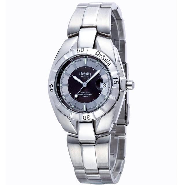 台灣品牌手錶腕錶【TELUX鐵力士】休閒運動腕錶39MM台灣製造石英錶93398W-GRAY鋼帶灰面-另有30MM款