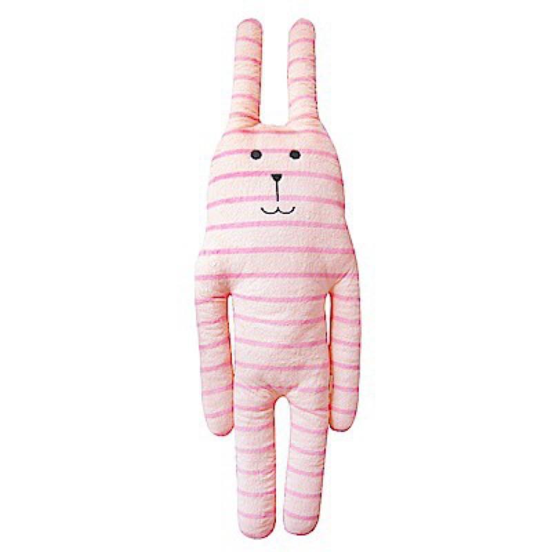 CRAFTHOLIC宇宙人 蠟筆兔 粉紅條紋兔 L號 大抱枕玩偶