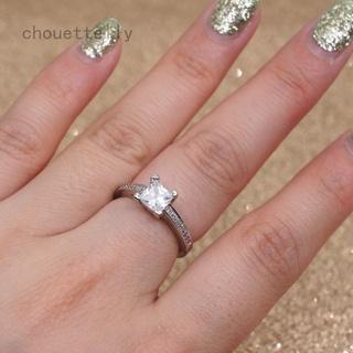 Chouettelly 公主切 1ct 訂婚 CZ 925 銀婦女結婚戒指爪環 Sz5-10