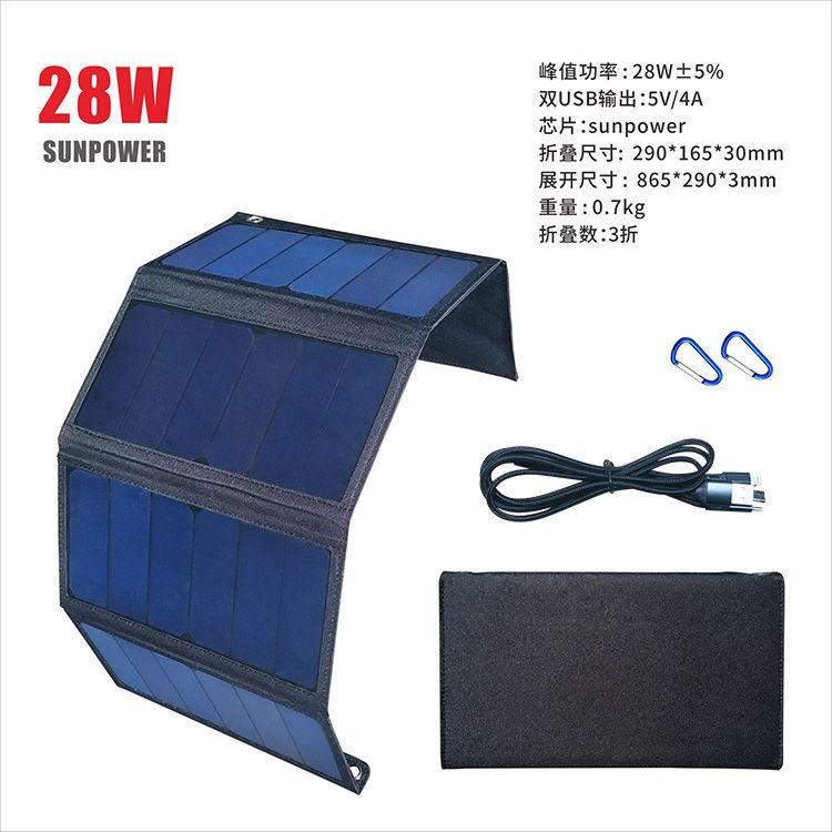 【太陽能移動電源】折疊太陽能發電板手機充電寶快充sunpower戶外5V12V供電太陽能充