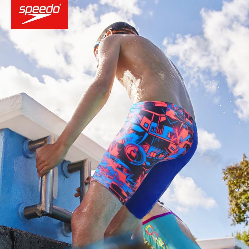 Speedo 青少年及膝泳褲 兒童五分健身游泳褲