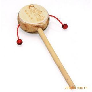 現貨撥浪鼓木質嬰兒玩具0-1歲小木鼓木制手搖鼓玩具廠家L1