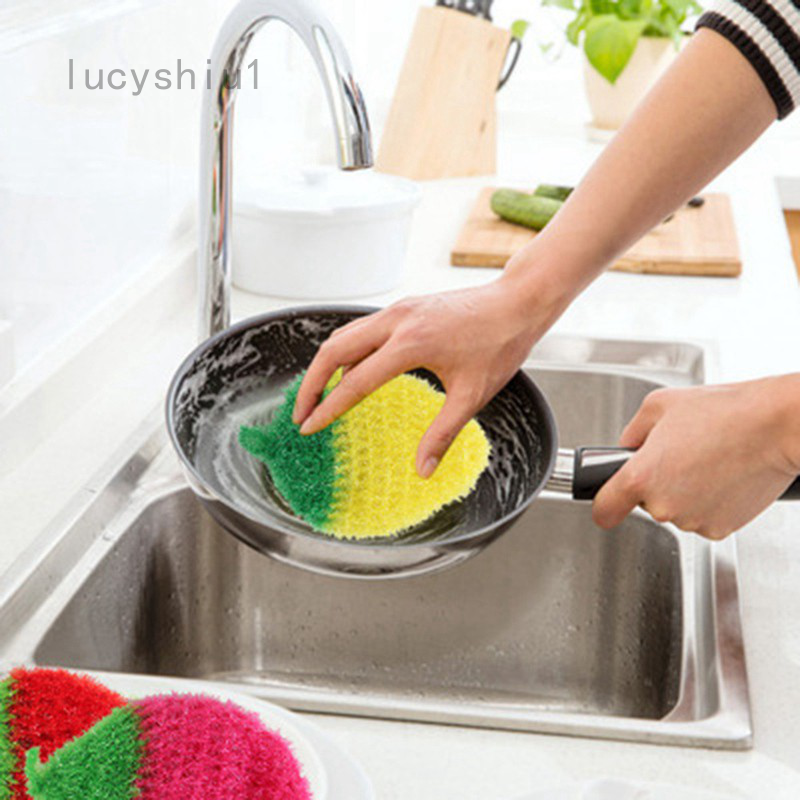 Lucyshiu1 熱銷韓國創意 加厚不沾油 草莓造型洗碗巾 菜瓜布 洗碗布 絲光手勾  手工刮花 可掛 草莓 洗碗巾