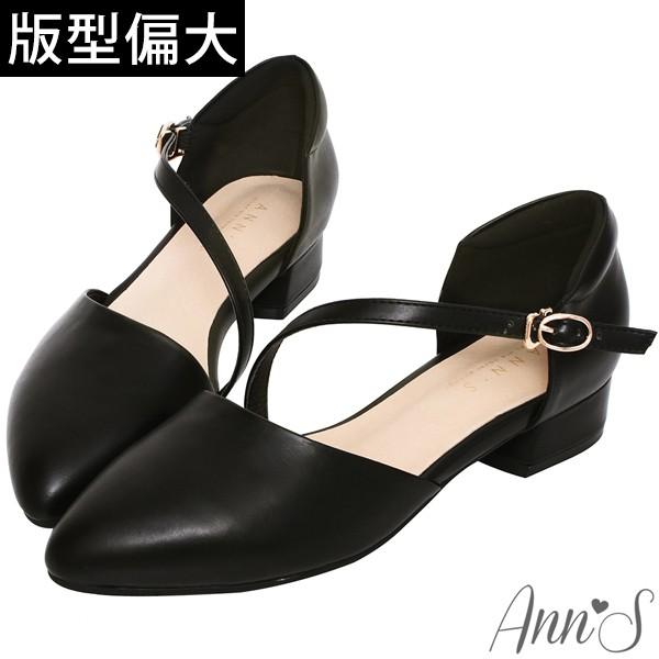 Ann'S瘦瘦的-延伸修長腳背斜帶低跟尖頭鞋-黑