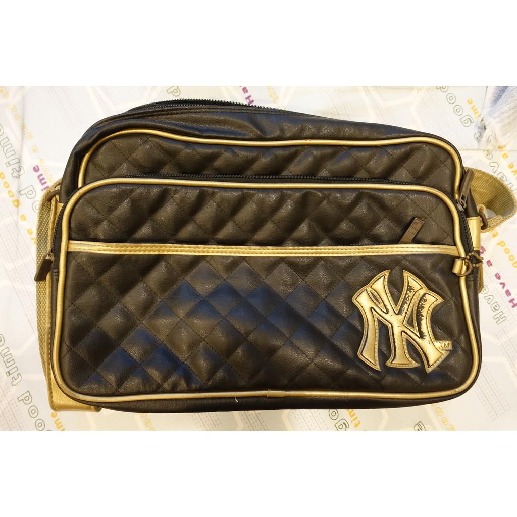 MLB 紐約洋基 燙金真皮斜背包 New York Yankees