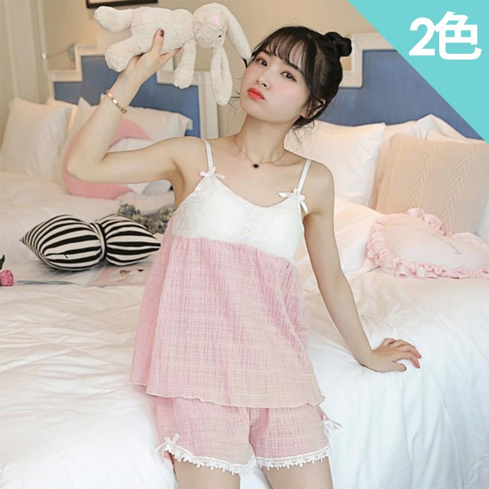 【Wonderland】韓版小清新100%棉麻免穿Bra睡衣褲組(2色)