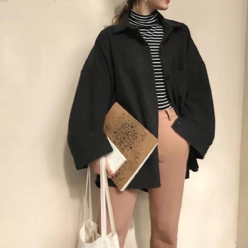 韓版 毛呢 寬鬆 外套