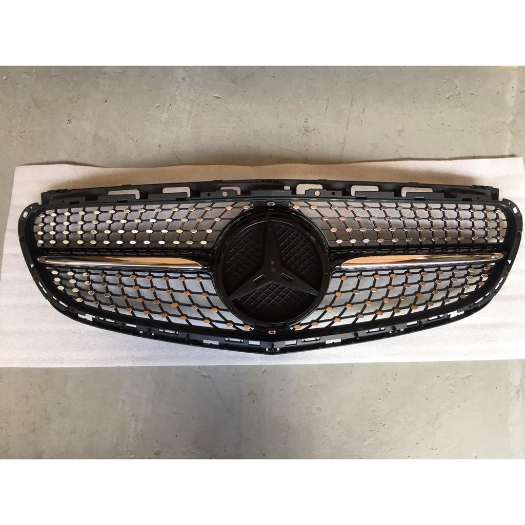 賓士 E-class W212 2014- 滿天星 水箱罩 水柵 改裝水箱護罩 鑽石款 黑色 銀色