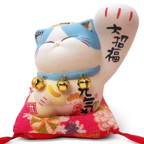 【金石工坊】大招福波士大手貓(高10CM)波士桃花貓 招財貓 陶瓷開運桌上擺飾 撲滿存錢筒