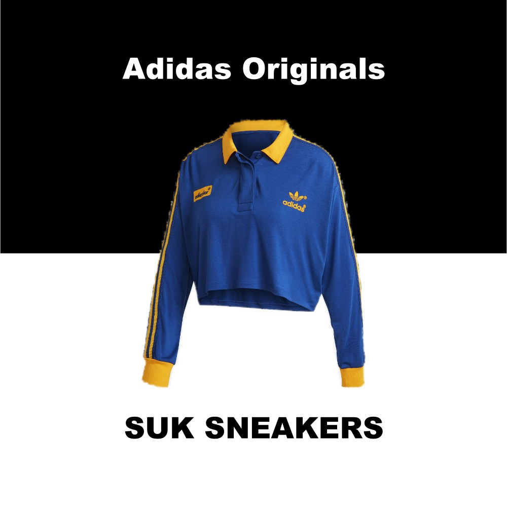 SUK 代購 ♦️ Adidas Originals ADICOLOR 藍色 黃色 短版 寬鬆 長袖 GD2301