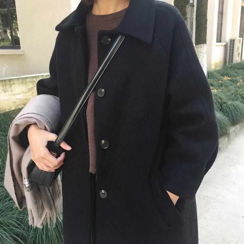 黑色質感厚實重磅毛呢長版大衣✨