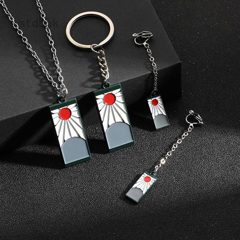 Mtdbpk 日系創意新款鬼滅之刃個性簡約設計項鍊 耳飾 鑰匙扣吊墜挂件